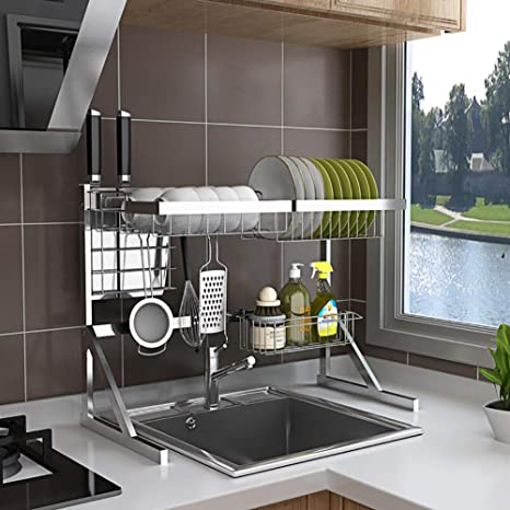 Trigold Dish Drying Rack Over Sink Stainless Steel Dish Rack With 5 Utility Hooks Large Drainer Shelf Utensil Holder For Kitchen Amazon De Home Kitchen