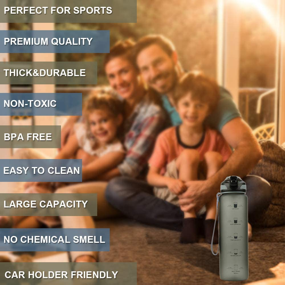 Leakproof BPA Free Water Bottle with Time Marker Motivational Water Bottle for Fitness Workout and Outdoor Enthusiast Taspire 32 OZ Water Bottles with Times to Drink with Straw Grey