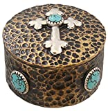 Rustic Hammered Copper & Silver Look Cross Trinket Box w/ Faux Turquoise Accents
