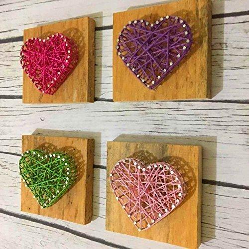 Amazon Com Rustic Wooden String Art Heart 4pcs Set String Wood