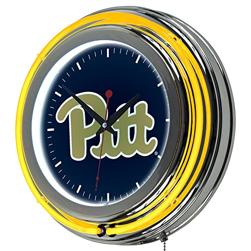 NCAA University of Pittsburgh Chrome Double Ring Neon Clock, 14