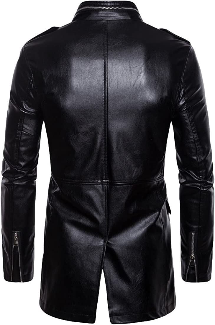 Mens Leather Jacket Slim Fit Stand Collar PU Motorcycle Jacket Lightweight Plus Size