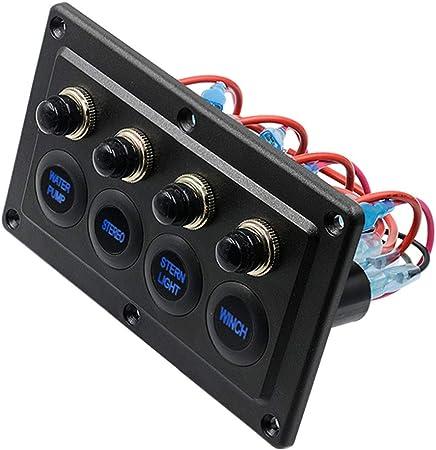 Ur HQCC De Palanca basculante de conmutación del Panel, 12V Caja de interruptores con luz LED Azul para RV Marina del Barco del Carro del Coche,4: Amazon.es: Hogar