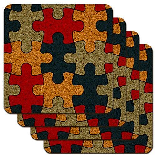 Autism Awareness Diversity Puzzle Pieces Low Profile Novelty Cork Coaster Set ()