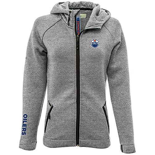 - Levelwear LEY9R NHL Edmonton Oilers Adult Women Motion Insignia Bold Full Zip Hooded Jacket, Small, Heather Pebble