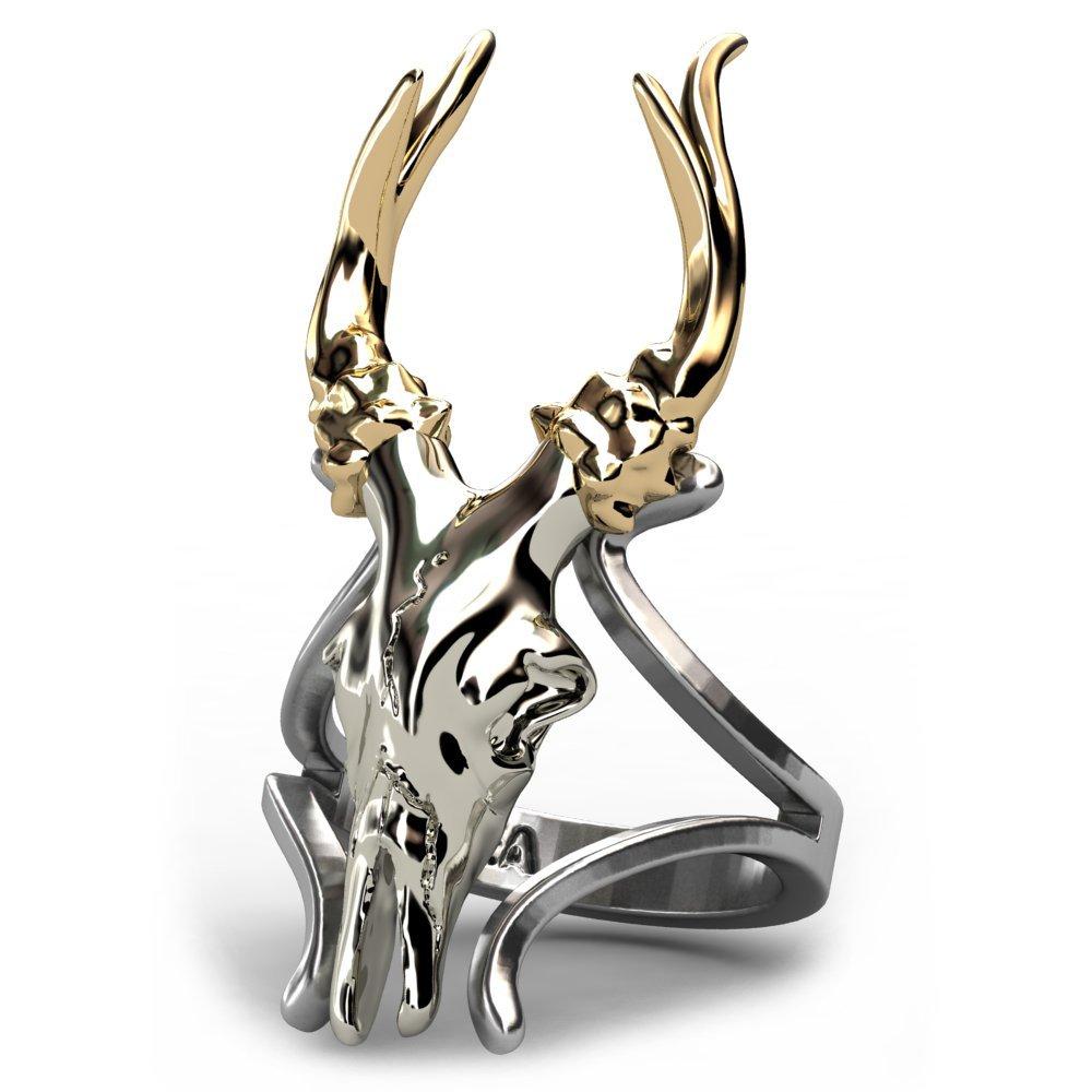 EVBEA Deer Antler Ring Vintage Cute Big Statement Two Tone Flower Gold Roe Rings for Women