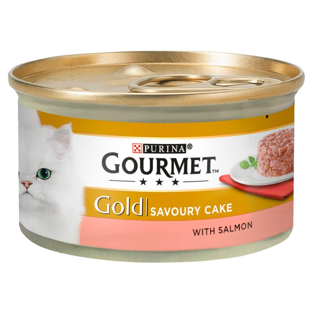 Gourmet Gold Wet Cat Food Savoury Cake Salmon Can Adult, 85 g - Pack of 12 Nestle Purina