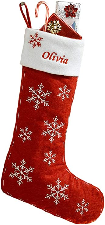 Personalized Red Felt Christmas Stocking With Snowflakes Home Kitchen Amazon Com