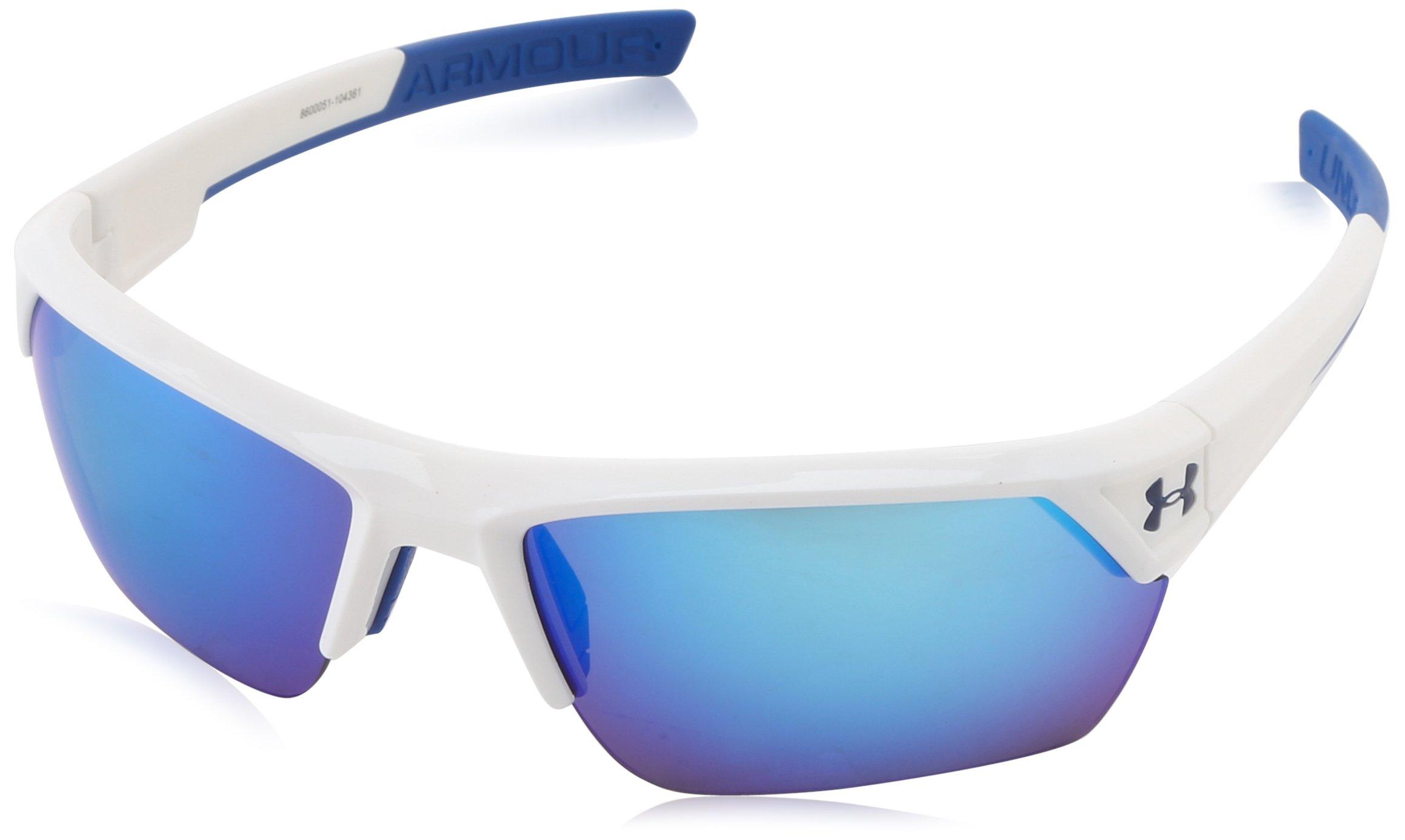 Under Armour Igniter II Shiny White Frame w/ Blue Mirror Lens Sunglasses 8600051-104361