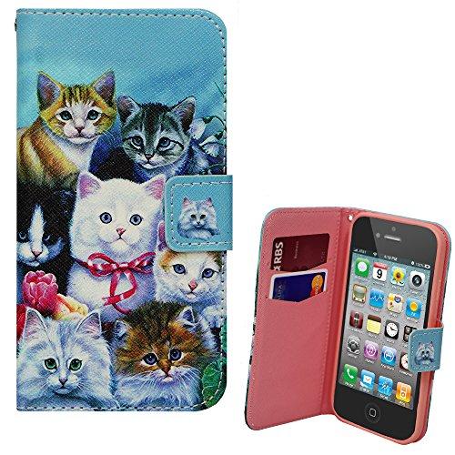 Xtra-Funky Exclusivo iPhone i5C caja de la PU billetera de cuero con los gatitos Gatitos