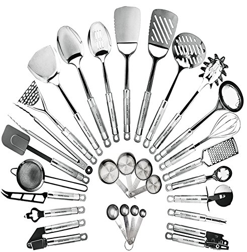 Cooking Tools Gadgets (Stainless Steel Kitchen Utensil Set - 29 Cooking Utensils - Nonstick Kitchen Utensils Cookware Set with Spatula - Best Kitchen Gadgets Kitchen Tool Set Gift by HomeHero)