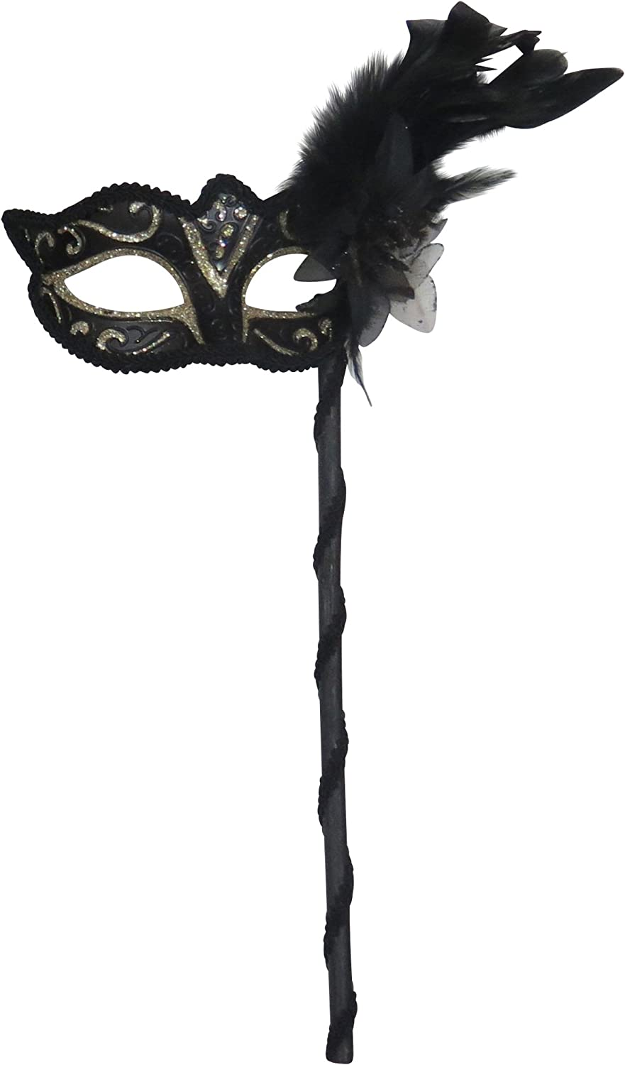 GLITTERING BLACK AND GOLD VENETIAN MASQUERADE PARTY  MASK ON A  HAND STICK
