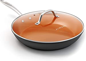 Nonstick Ceramic Copper Frying Pan: Non Stick 8 Inches Skillet With Glass Lid - Round Aluminum Saute Pan for Gas, Electric and Induction Cooktops (8 Inch)