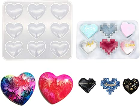 Heart Crystal Keychain Mold Silicone Molds Dropping Glue Mold Resin Mould