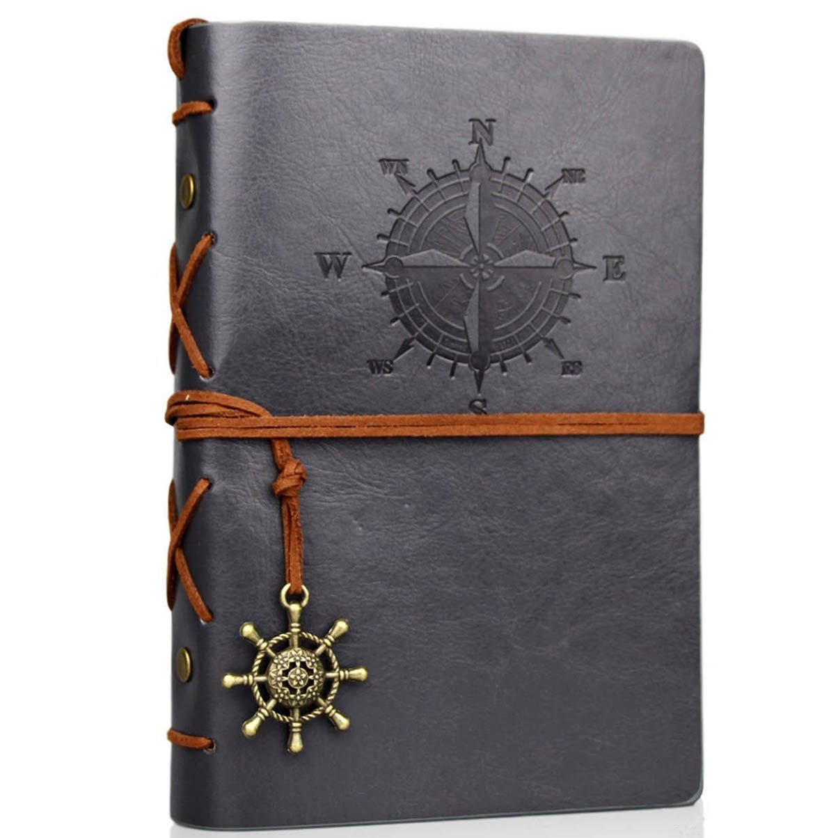 Travel Journal Writing Notebook for on The Go Taking Notes, Vintage PU Leather Note Book, A6, Unlined Page, 6 Ring Binder, 7 x 5 Inches, 80 Sheets/ 160 Pages(Grey)