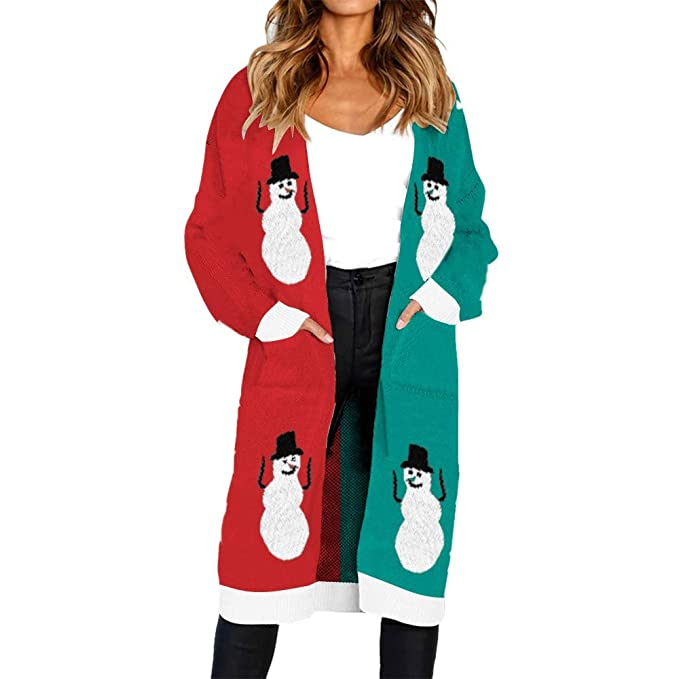 Darringls Abrigo Mujer Elegantes, Chaqueta de Punto Mujer Cárdigan de Punto Abrigos Elegantes Color sólido Casual Imprimir de Muñeco de Nieve: Amazon.es: ...