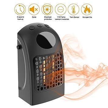 Cozywind Mini Calentador Cerámico,900W Bajo Consumo Termoventilador Portátil,Tiene Enchufe,Silencioso, Calefacción Rápida para Oficina,Dormitorio (Negro): ...