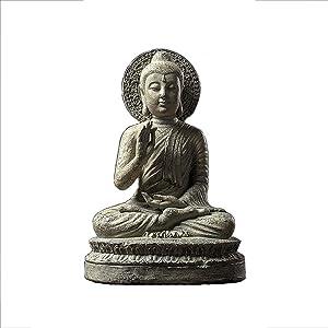 LIUSHI Indoor Outdoor Meditating Buddha Statues,Sitting Zen Buddha Garden Sculptures,Antique Stone Finish Sakyamuni Buddha Figurines,Chinese Feng Shui Gifts
