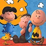 """amscan Classic Peanuts Birthday Party Beverage Napkin Tableware, Paper , 5"""" x 5"""", Pack of 16"""