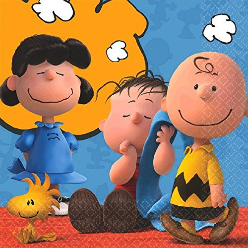amscan Classic Peanuts Birthday Party Beverage Napkin Tableware, Paper , 5