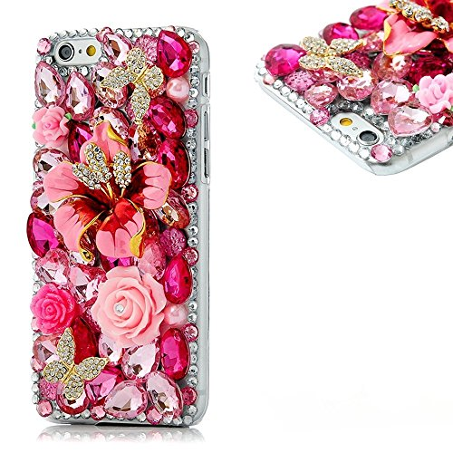Spritech TM Bling Clear Phone Case For Iphone 7 Plus/Iphone 8 Plus 5.5inch,3D Handmade Rose Crystal Flower Butterfly Accessary Design Cellphone Hard Cover ()