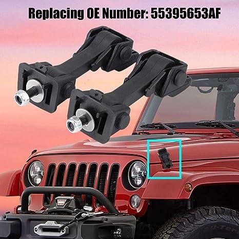Terisass 55395653AF 2 Set of Hood Latch Safety Catches /& Brackets for Jeep Wrangler JK 2007 2008 2009 2010 2011 2012 2013 2014 2015 2016