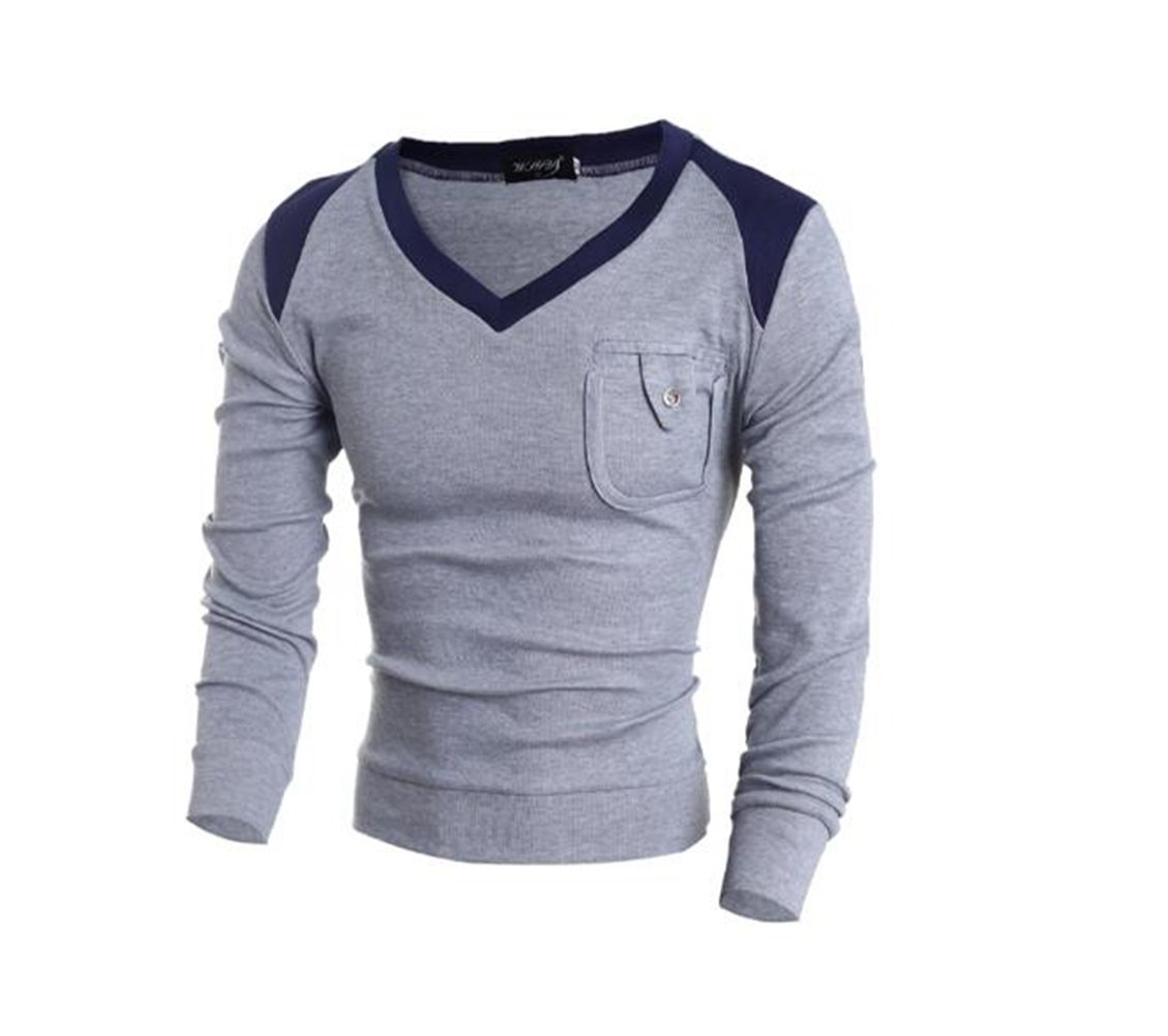 BellyLady Color Block Splicing Pocket Design V-Neck Long Sleeve Men's Sweater,Gray,XL