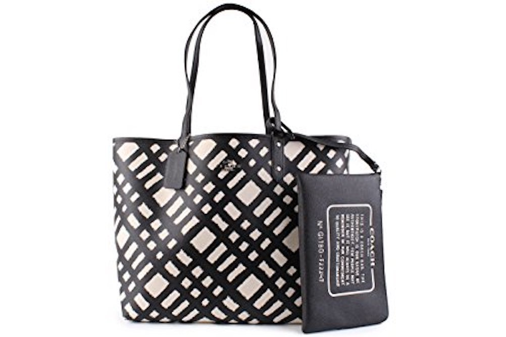 Coach Wild Plaid Print Reversible City Tote Bag With Travel Pouch Chalk/Multi Black