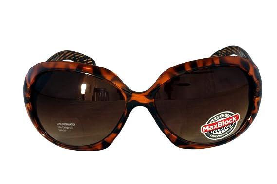 Foster Grant FG41 Lunettes de soleil arrondies en forme de style carré noir cadre en plastique imprimé léopard et bras Marron Gradient Lenses CAT 2 krB3Ns19g