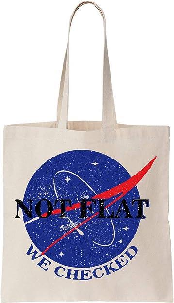 NoMoreFamous Nasa No Flat We Checked Algodón Bag Tote Bag: Amazon ...