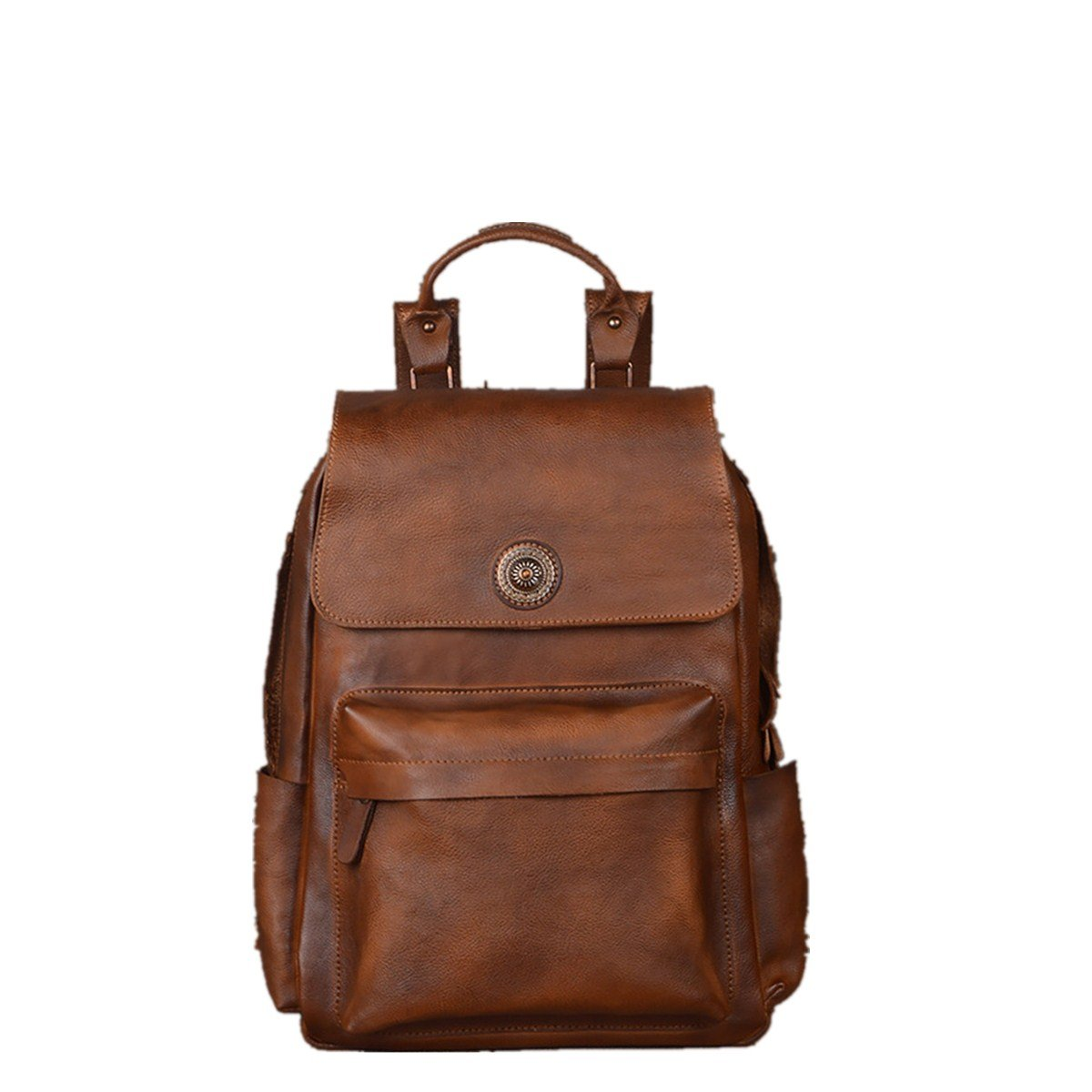 OURBAG Men Genuine Leather Travel Shoulder Bag Vintage School Bag Business Backpack Retro Brown Medium
