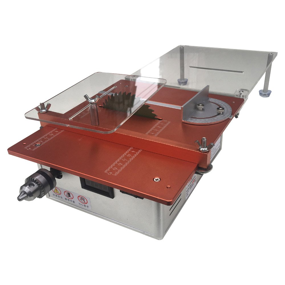 Dual Motor Mini Table Saw Woodworking DIY Desktop Saw Table Cutting Machine with Power Adapter and Extended Workbench