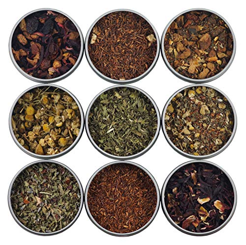 Heavenly Tea Leaves Herbal Tea Sampler, 9 Count - Naturally Caffeine-Free Loose Leaf Teas (Best Selling Teavana Tea)