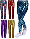 Lollipop Clothing Childrens Mermaid Fish Scale Metallic Leggings Stretch Ariel Book Day Costume