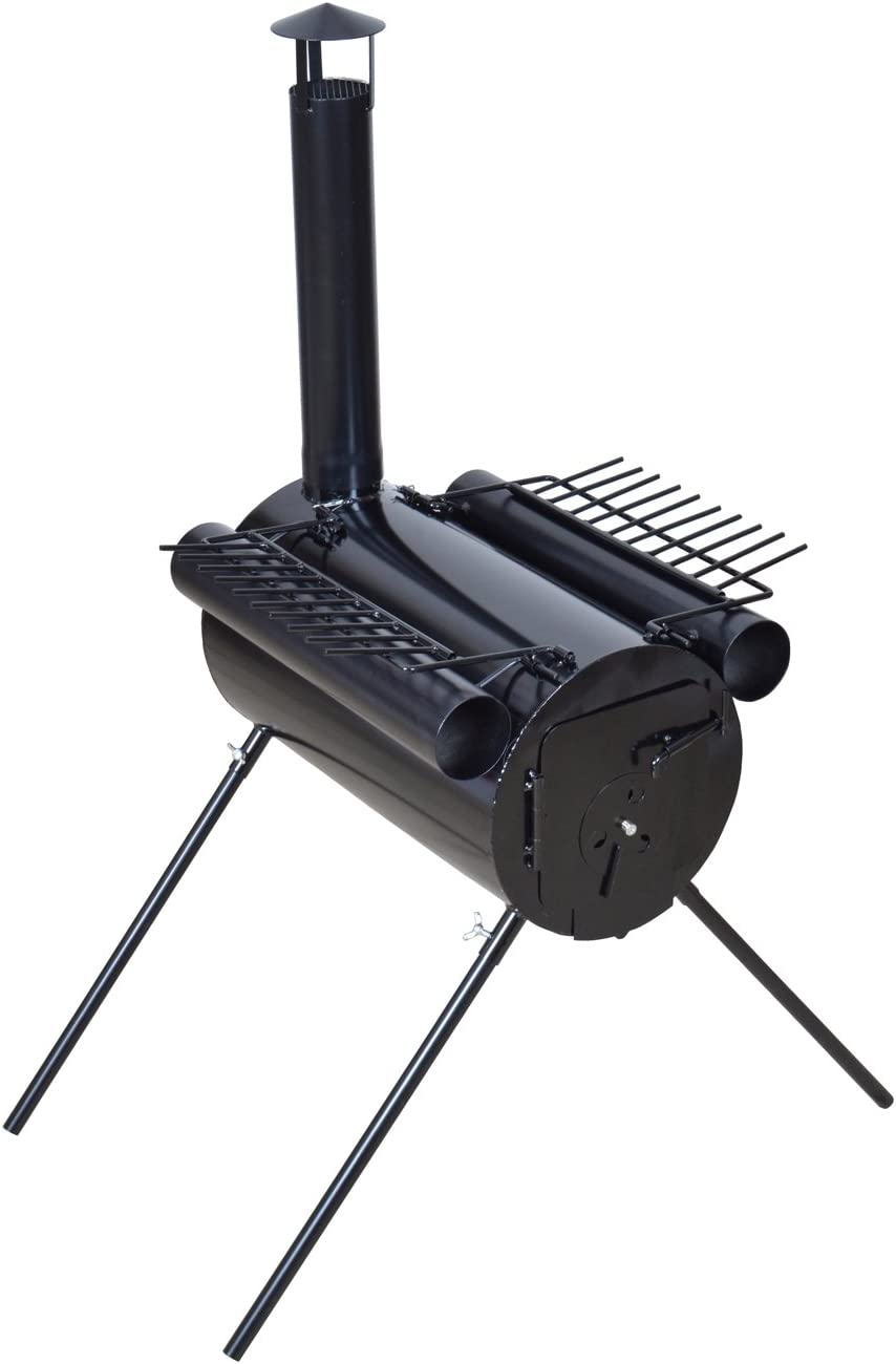Image of a black tent stove , chimney pole mounted on one side supported by for long metal stands.