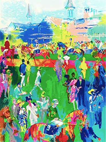 A SLICE IN TIME Louisville Kentucky Horse Race by Leroy Neiman Vintage Travel Home Collectible Wall Decor Advertisement Art Poster Print. Measures 10 x 13.5 inches