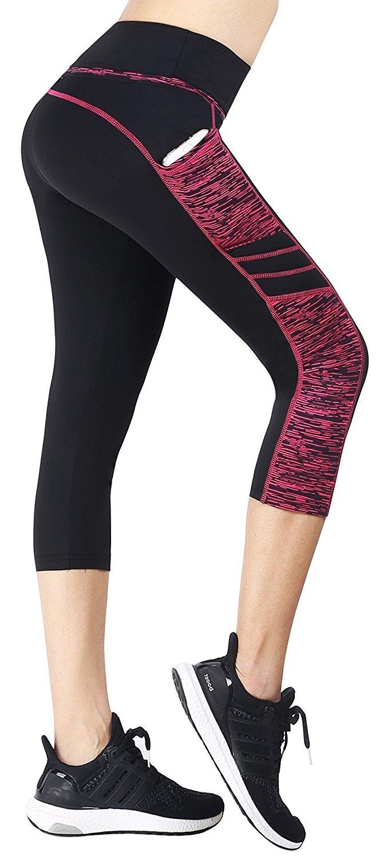 2d7bf99870da66 Galleon - EAST HONG Women's Yoga Leggings Exercise Workout Pants Gym Tights  (M, Black/Rose(Capri))