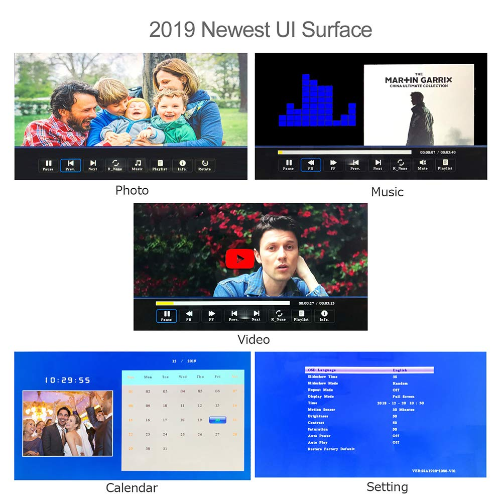 Digital Picture Frame,13.3 inch 1920X1080P with HDMI High Resolution Full IPS Photo/Music/Video Player Calendar, Ultra Slim Design with Remote Control by SSA (Image #3)