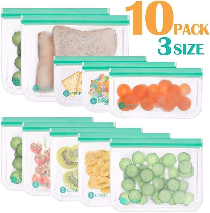 Opret Bolsas Alimentos Reutilizables, 10 Bolsas Congelar ...