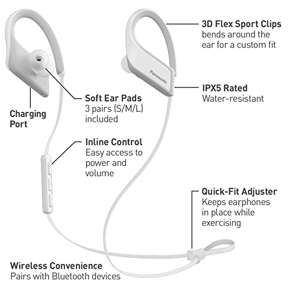 Amazon.com: Panasonic Wings Ultra-Light Wireless Bluetooth Sport Earphones White (RP-BTS35-W): Electronics