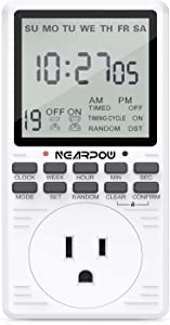 Outlet Timer, NEARPOW Multifunctional Programmable Timer with Countdown and Infinite Short Cycle, 19 ON/OFF Programs, 7-Day Digital Timers for Electrical Outlets, 3 Prong, 15A/1800W