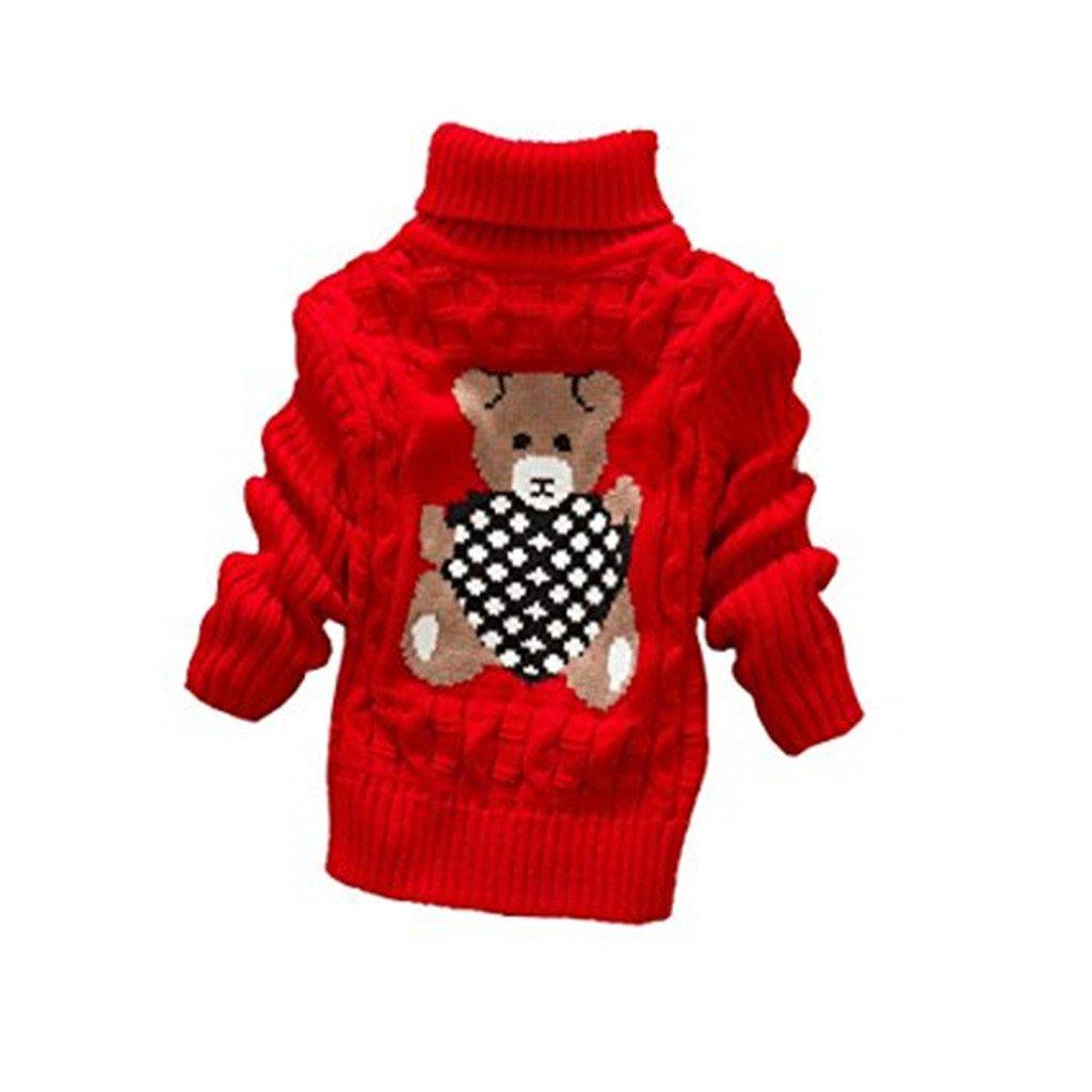 JELEUON Little Girls Baby Cute Bear Turtleneck Winter Warm Polo Neck Sweater Tops