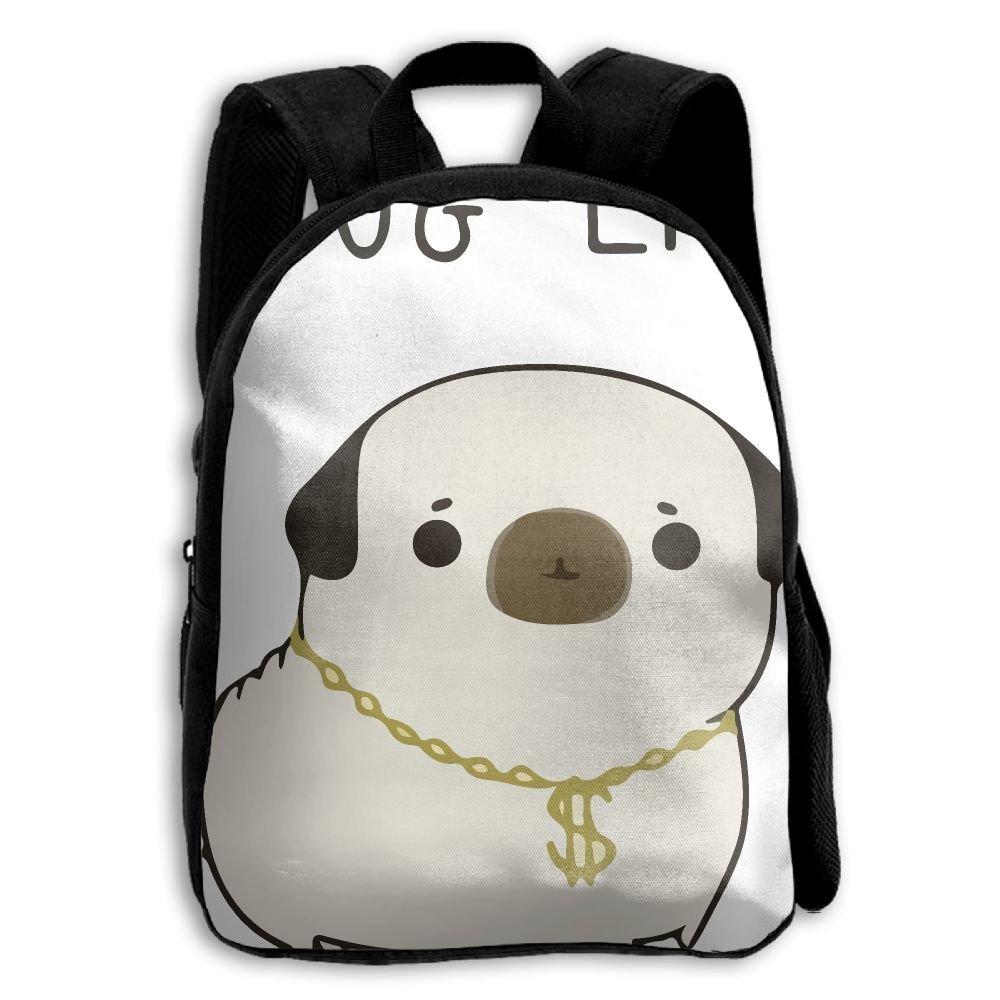 fidaljf Pug Life Children 's 3dプリントファスナー付き旅行バッグ学校バックパック   B07DN8JWRD