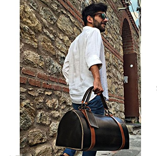 Black Leather Handmade Duffel Bag Carry on Travel Bag by AnyLeatherDesigns