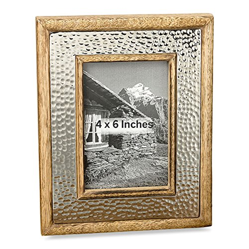 Hand Hammered Metal Frame - The Crosby Street Rustic Photo Frame, Hammered Silver Metal Framed by Natural Mango Wood, 4 x 6 Picture Window, Overall Size is 7 ½ x 9 ½, By Whole House Worlds