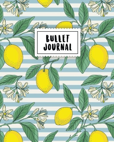 Bullet Journal: Vintage Lemon | 150 Dot Grid Pages (size 8x10 inches) | with Bullet Journal Sample Ideas
