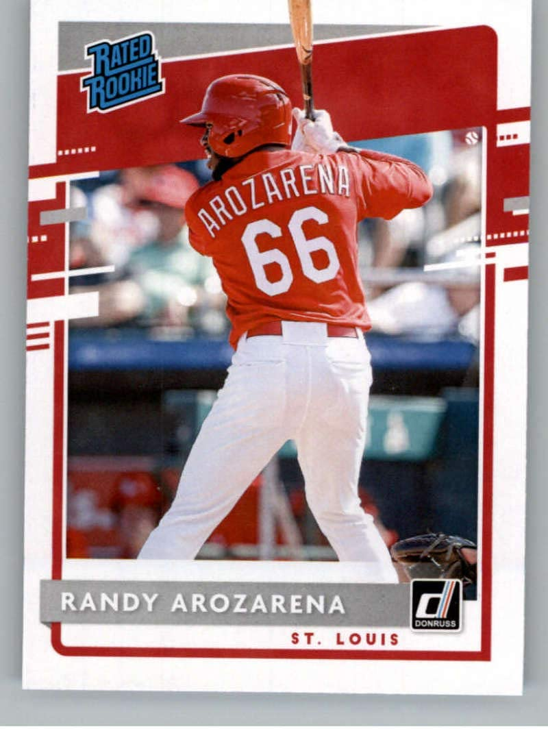 amazon com 2020 donruss baseball 51 randy arozarena rc rookie st louis cardinals official player licensed trading card by panini america collectibles fine art 2020 donruss baseball 51 randy