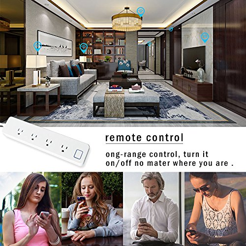 LINGANZH Smart Wi-Fi Power Strip Surge Protector Extension Socket, Individually Control Timing Function with iOS Android Smartphone Tablet, with Amazon Alexa and Google Home (White) by LINGANZH (Image #5)