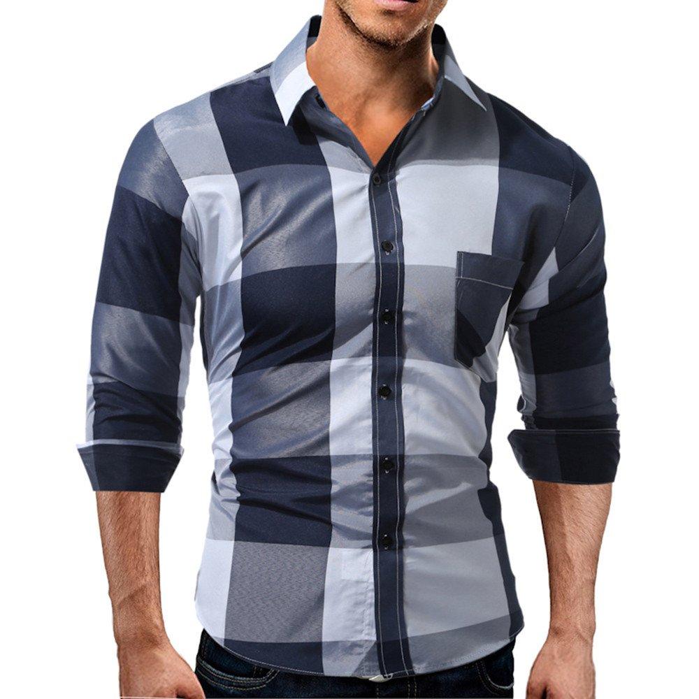 LuckyGirls Camisetas Hombre Manga Larga Estampado de la Tartán Color de Hechizo Slim Fit Streetwear Negocio Casual Camisas Formales