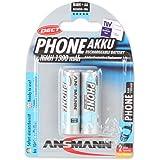 ANSMANN 5030802 Mignon AA Typ 1300mAh maxE geringe Entladung für Schnurlostelefone DECT Akkubatterie 2er Pack